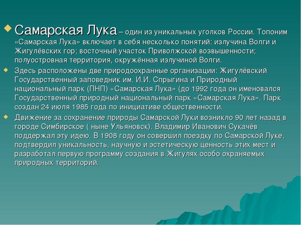 Самарская Лука – один из уникальных уголков России. Топоним «Самарская Лука»...