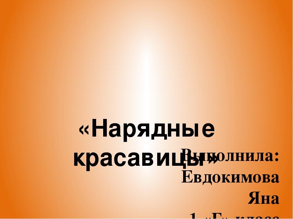 «Нарядные красавицы» Выполнила: Евдокимова Яна 1 «Г» класс