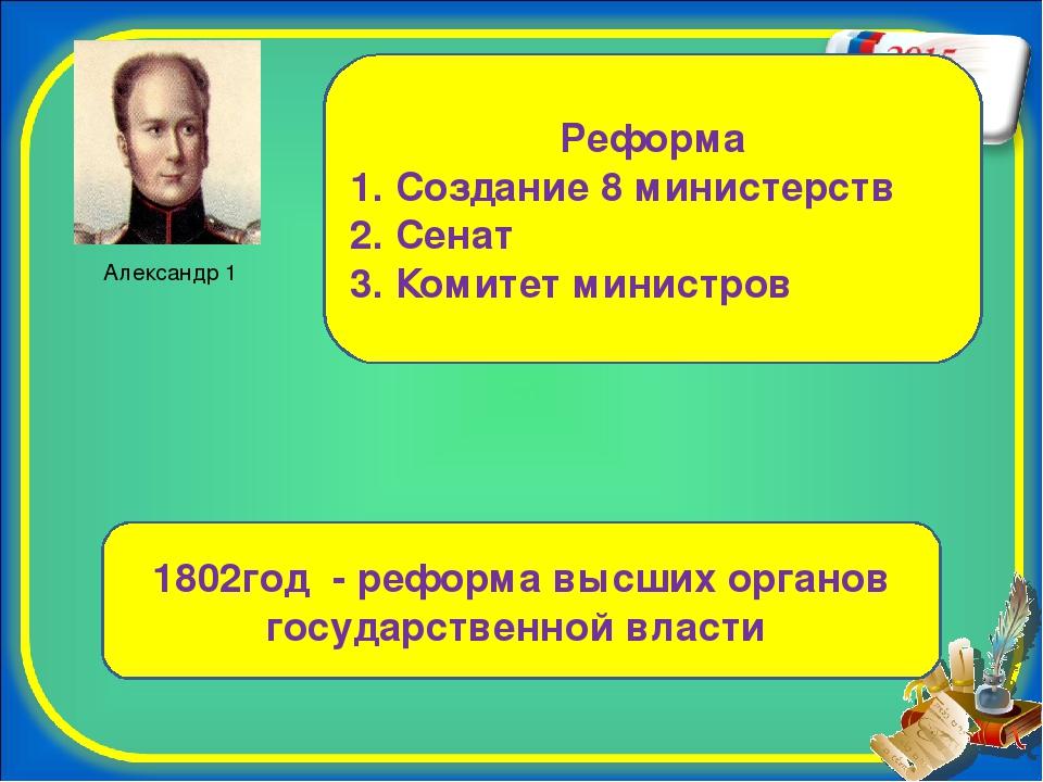 Александр 1 Реформа 1. Создание 8 министерств 2. Сенат 3. Комитет министров 1...
