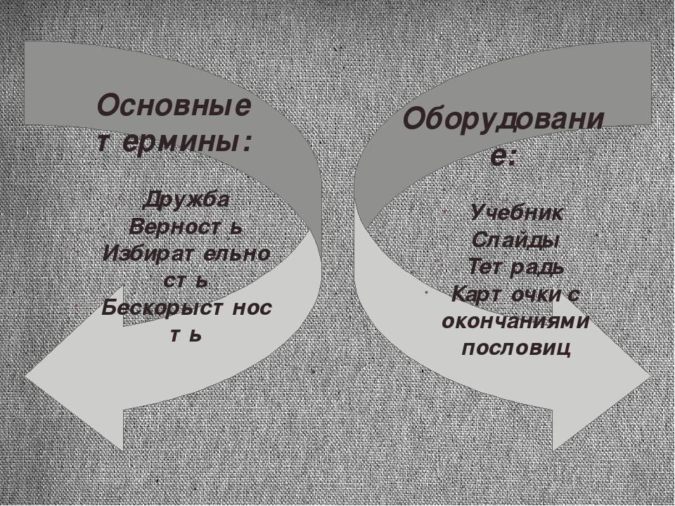 Основные термины: Дружба Верность Избирательность Бескорыстность Оборудование...