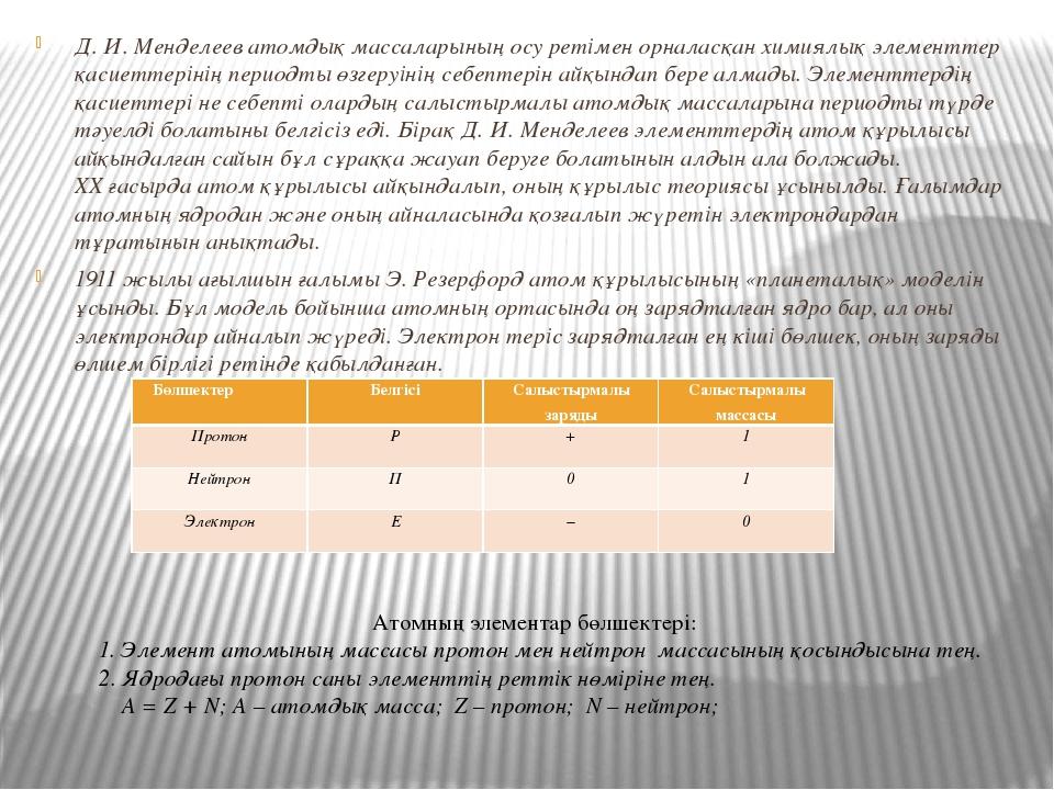 Д. И. Менделеев атомдық массаларының осу ретімен орналасқан химиялық элементт...