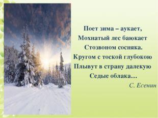 Поет зима – аукает, Мохнатый лес баюкает Стозвоном сосняка. Кругом с тоской г