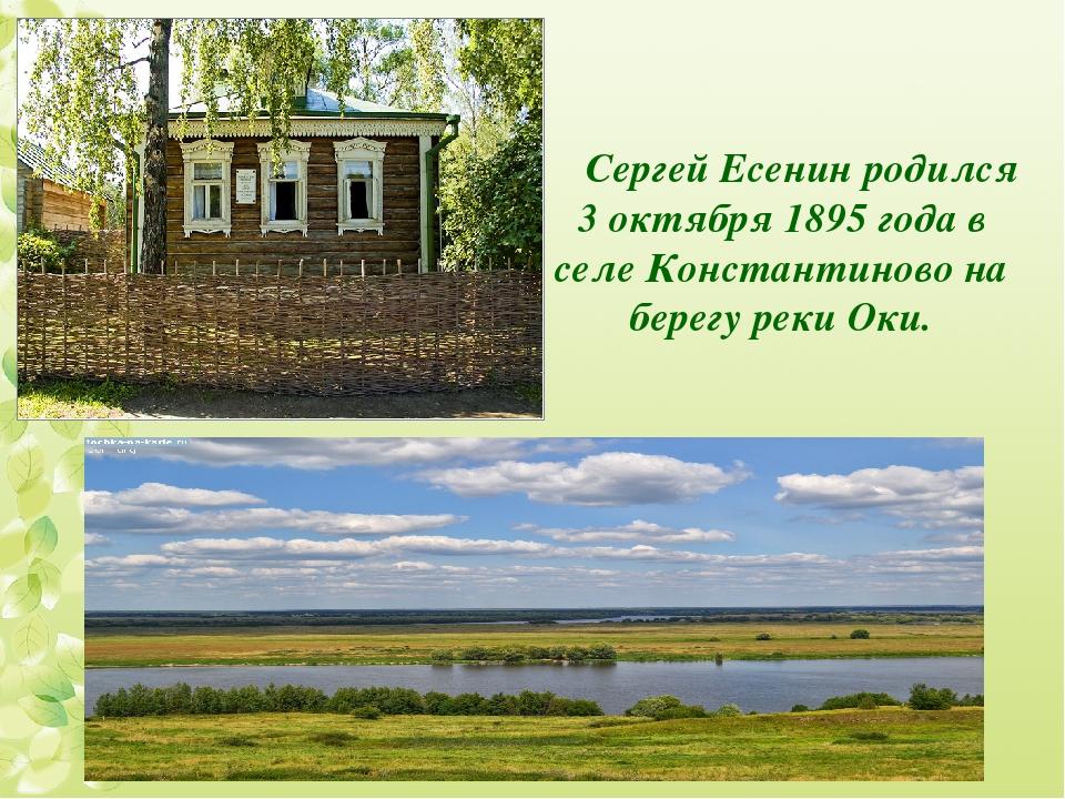 Сергей Есенин родился 3 октября 1895 года в селе Константиново на берегу реки...