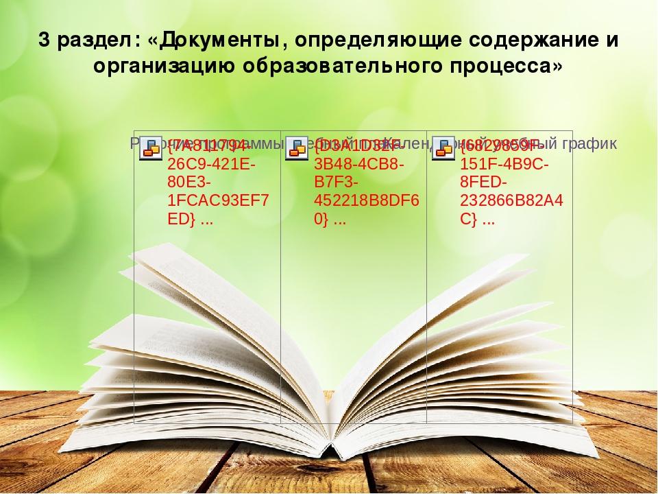3 раздел: «Документы, определяющие содержание и организацию образовательного...
