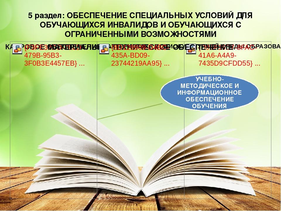 5 раздел: ОБЕСПЕЧЕНИЕ СПЕЦИАЛЬНЫХ УСЛОВИЙ ДЛЯ ОБУЧАЮЩИХСЯ ИНВАЛИДОВ И ОБУЧАЮЩ...