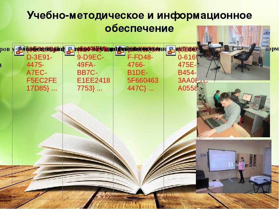 Учебно-методическое и информационное обеспечение