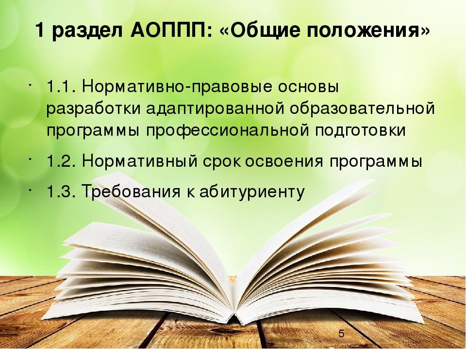 1 раздел АОППП: «Общие положения» 1.1.Нормативно-правовые основы разработки...