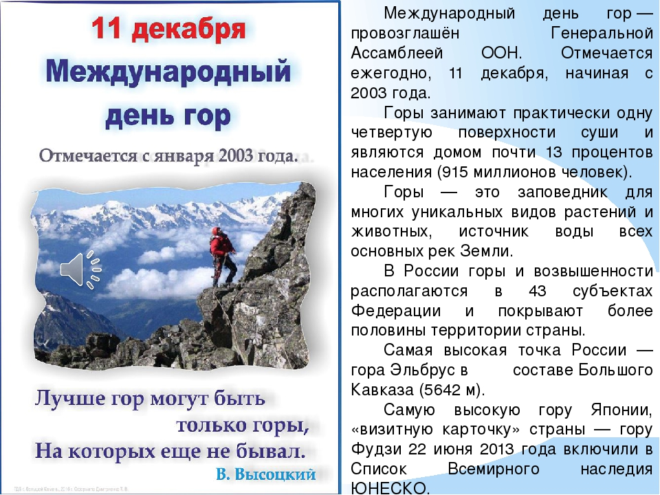 С международным днём гор