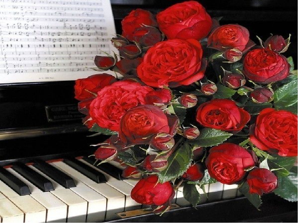 Анимация открытка с днем рождения с цветами музыкальная, февраля день