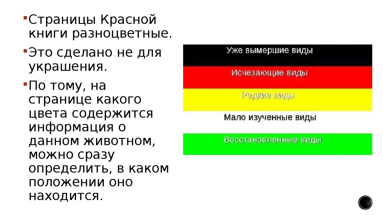 кто страницы красной книги россии что означает каждый цвет презентация этого