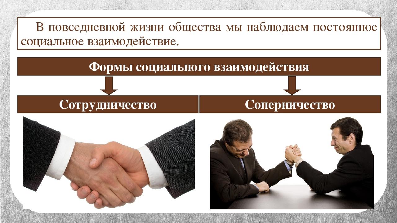 Формы социального взаимодействия Сотрудничество Соперничество В повседневной...