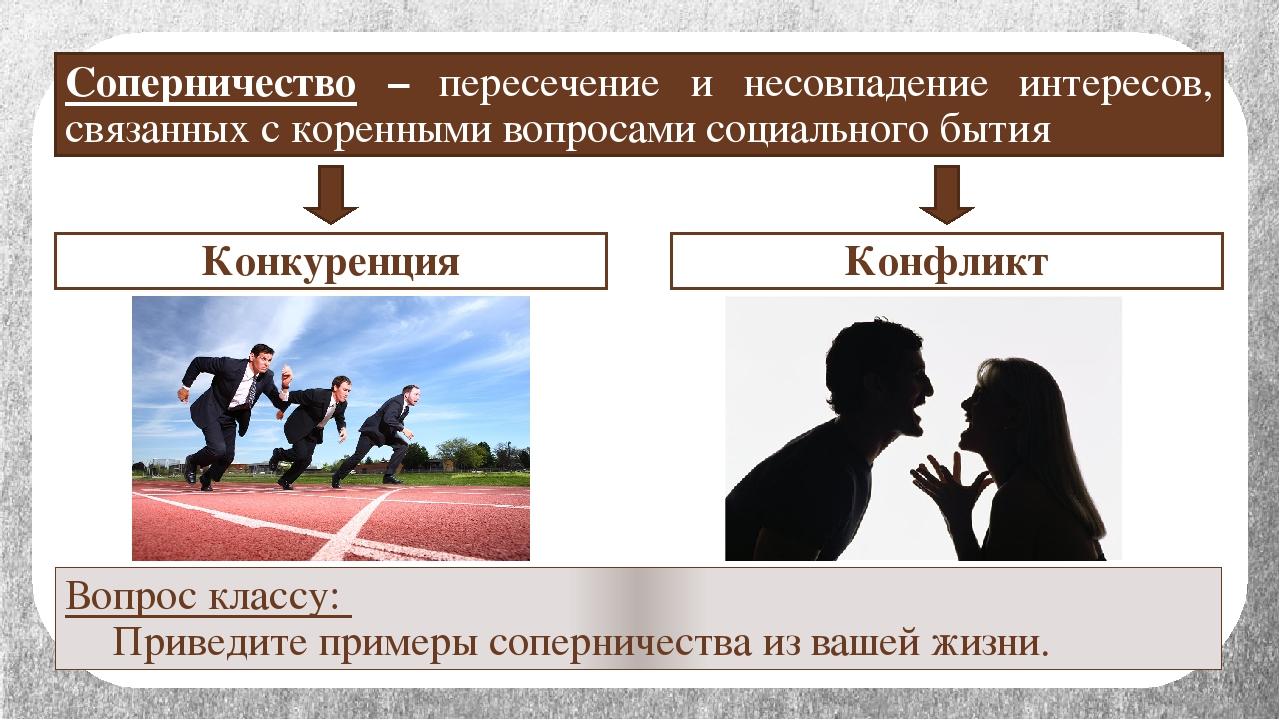 Конкуренция Конфликт Вопрос классу: Приведите примеры соперничества из вашей...