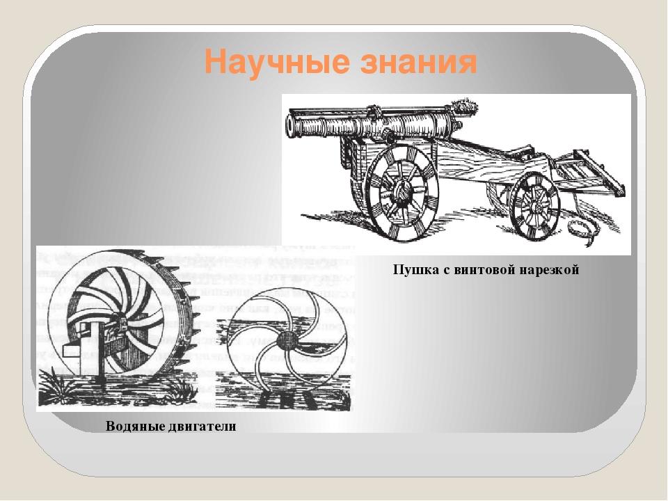 Научные знания Водяные двигатели Пушка с винтовой нарезкой