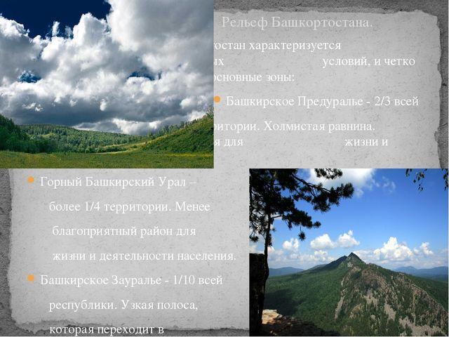 Презентация по географии на тему Рельеф Республики Башкортостан  Башкортостан характеризуется многообразием природных условий