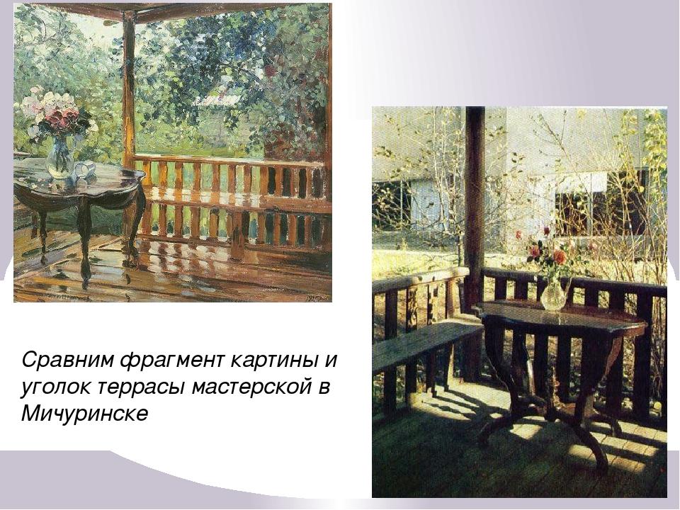 Сравним фрагмент картины и уголок террасы мастерской в Мичуринске