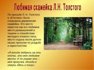 По просьбе Л. Н. Толстого в «Елочках» была сооружена деревянная скамейка. Эт
