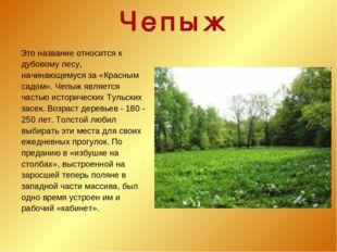 Это название относится к дубовому лесу, начинающемуся за «Красным садом». Че
