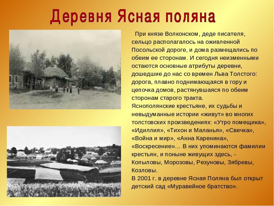 При князе Волконском, деде писателя, сельцо располагалось на оживленной Посо...