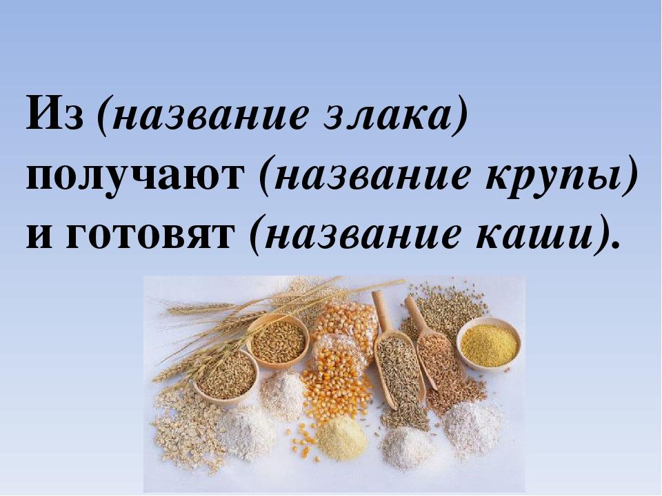 Из (название злака) получают (название крупы) и готовят (название каши).