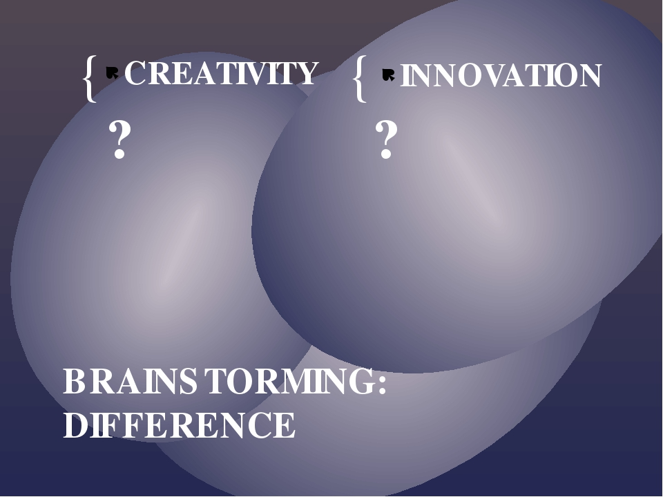 CREATIVITY ? INNOVATION ? BRAINSTORMING: DIFFERENCE { {