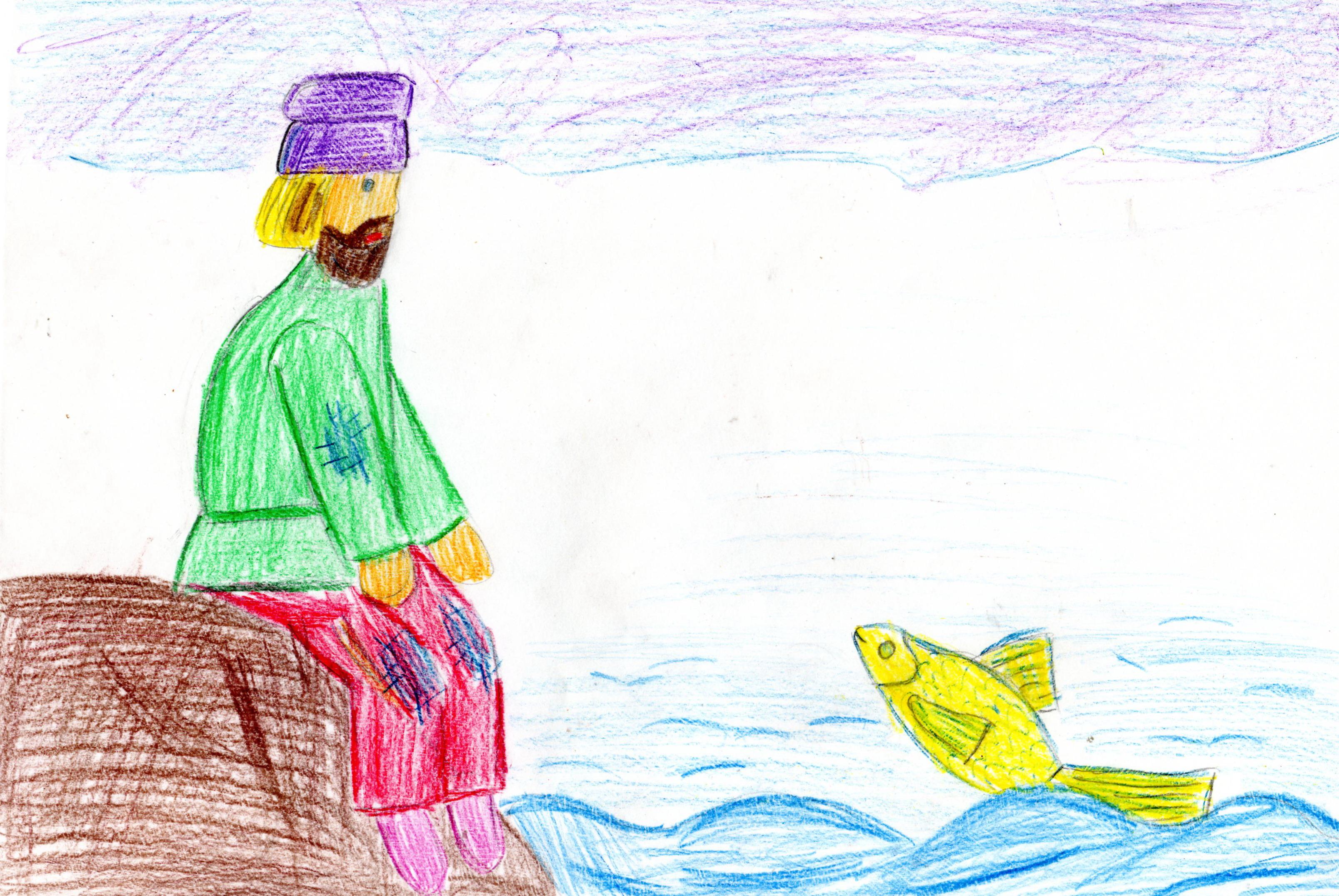 картинки рыбака и рыбки рисунки