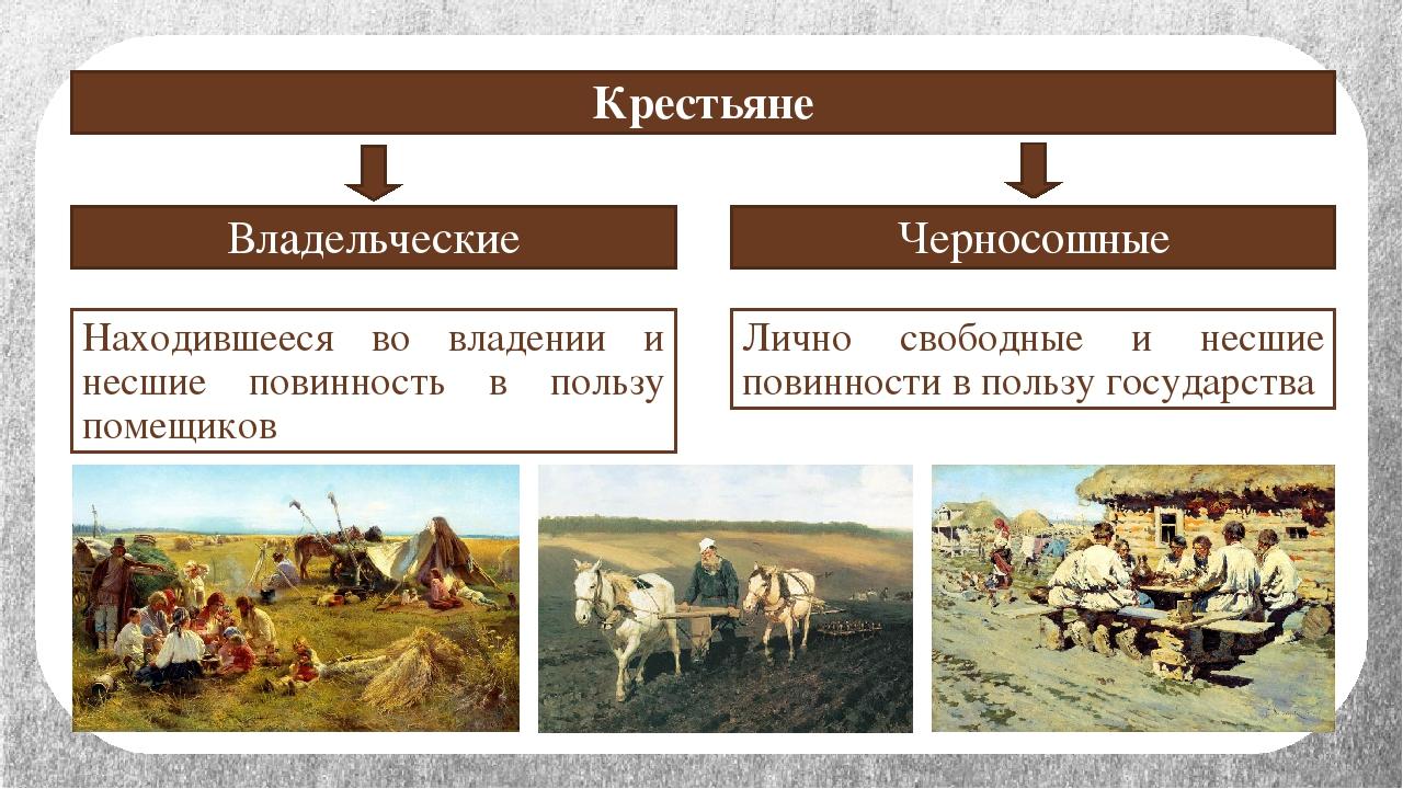 Крестьяне Владельческие Черносошные Находившееся во владении и несшие повинно...
