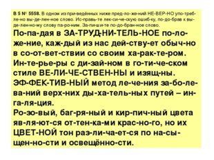 B5№5558.В одном из приведённых ниже предложений НЕВЕРНО употребле