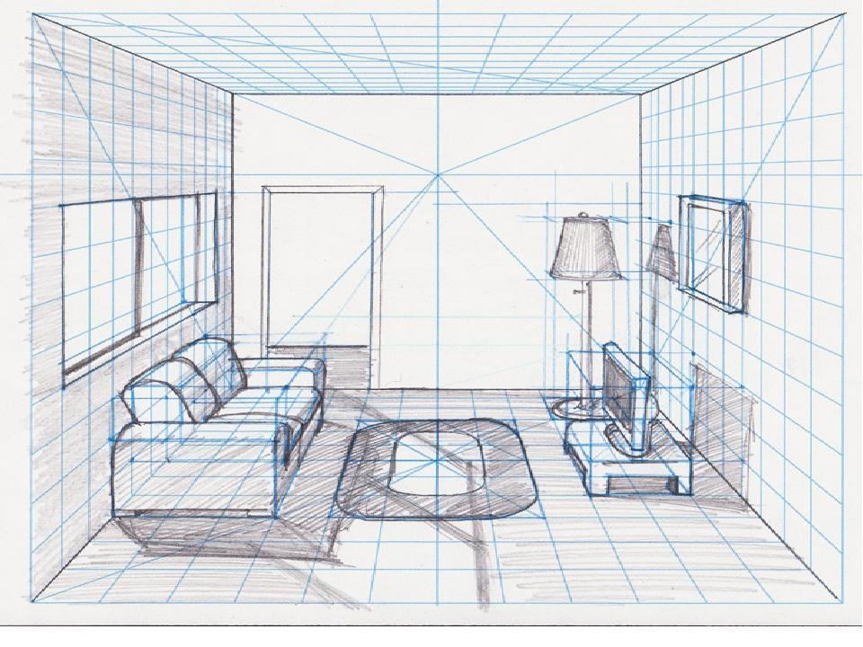 интерьер комнаты рисунки по изо как они