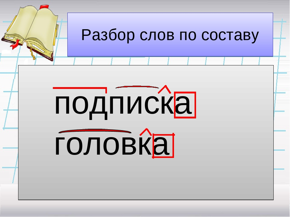 Разбор слов по составу подписка головка