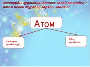Заттарды құрайтын бөлшек қалай аталады ? Атом неден тұрады, заряды қандай? Ат