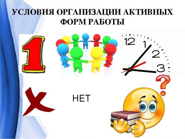 УСЛОВИЯ ОРГАНИЗАЦИИ АКТИВНЫХ ФОРМ РАБОТЫ НЕТ 1. Определить и сформулировать з...