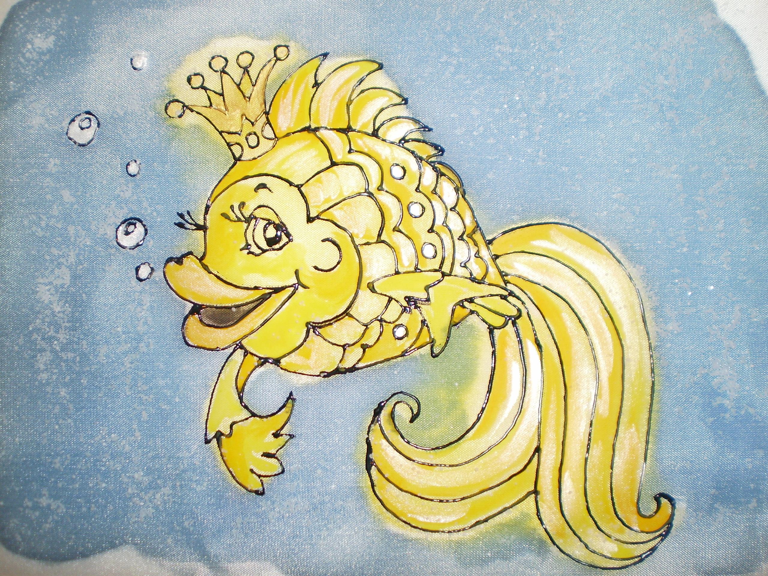Картинка нарисованной золотой рыбки
