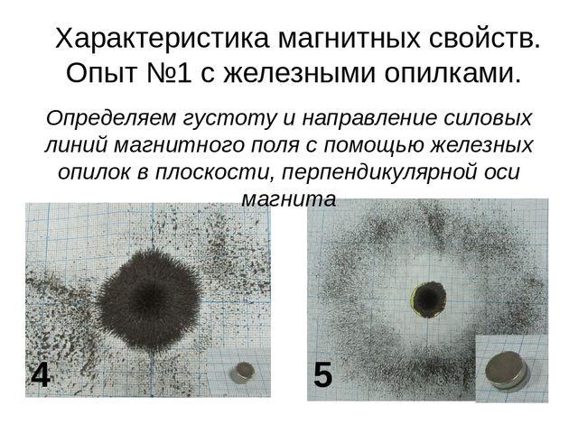 Характеристика магнитных свойств. Опыт №1 с железными опилками. 5 4 Определяе...