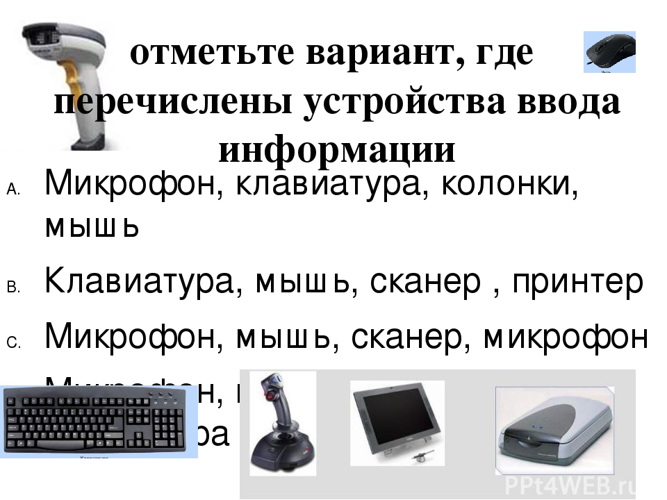 отметьте вариант, где перечислены устройства ввода информации Микрофон, клави...