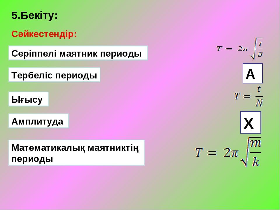 5.Бекіту: Сәйкестендір: Серіппелі маятник периоды Тербеліс периоды Ығысу Ампл...