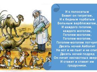 И к полосатым Бежит он тигрятам, И к бедным горбатым Больным верблюжатам, И