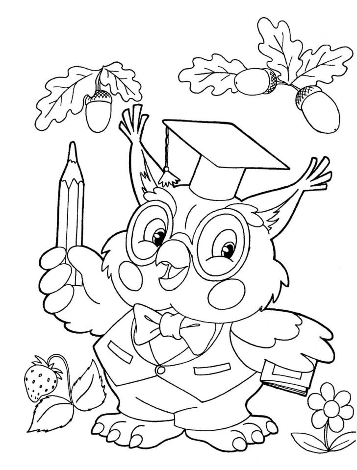 Открытка на день учителя рисунок карандашом сова