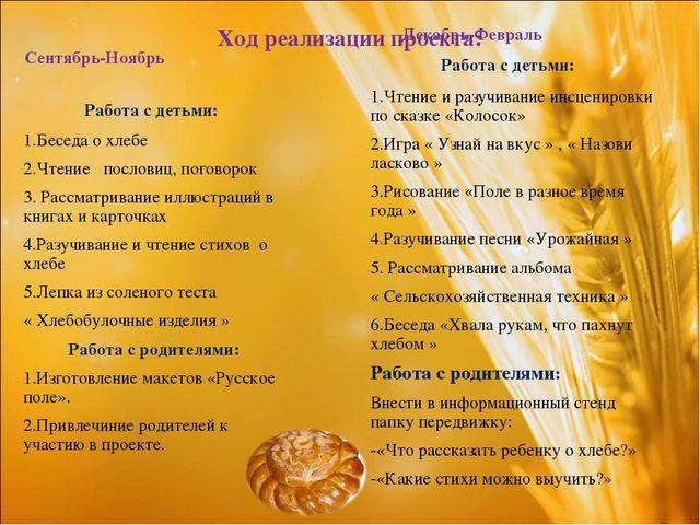 Ход реализации проекта: Сентябрь-Ноябрь Работа с детьми: 1.Беседа о хлебе 2....