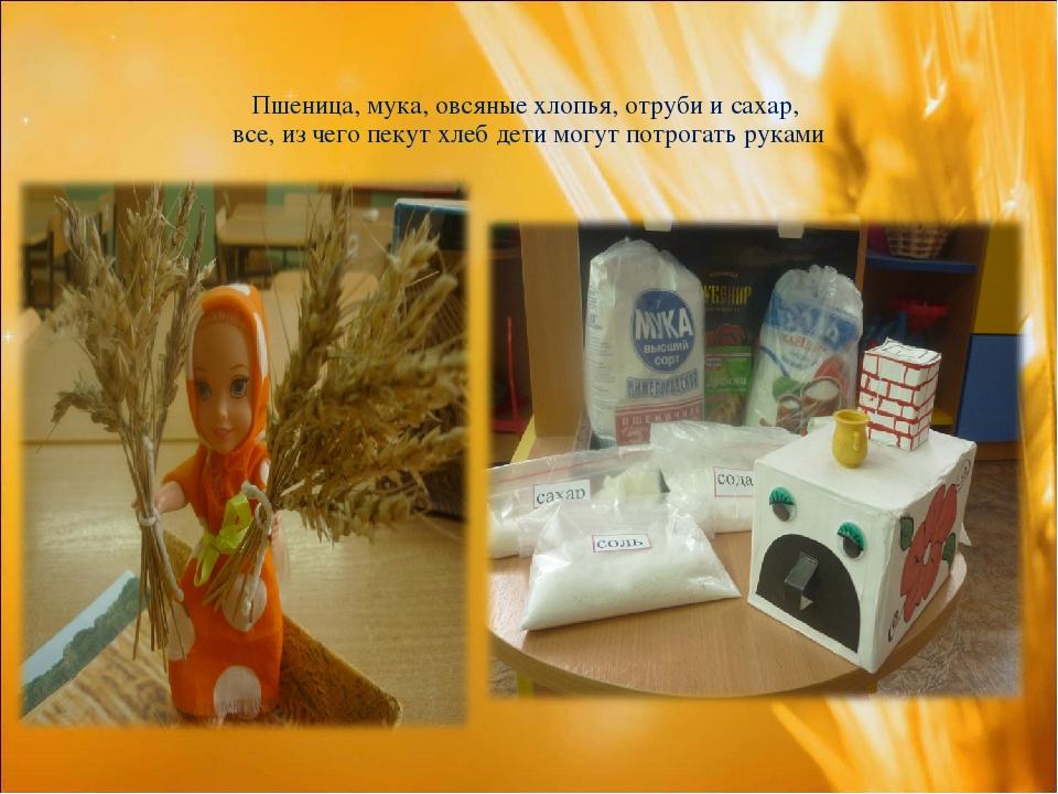Пшеница, мука, овсяные хлопья, отруби и сахар, все, из чего пекут хлеб дети м...