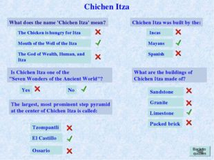 Chichen Itza What does the name 'Chichen Itza' mean? The Chicken is hungry fo