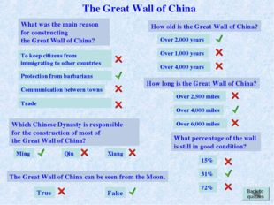 What was the main reason for constructing the Great Wall of China? Trade To k