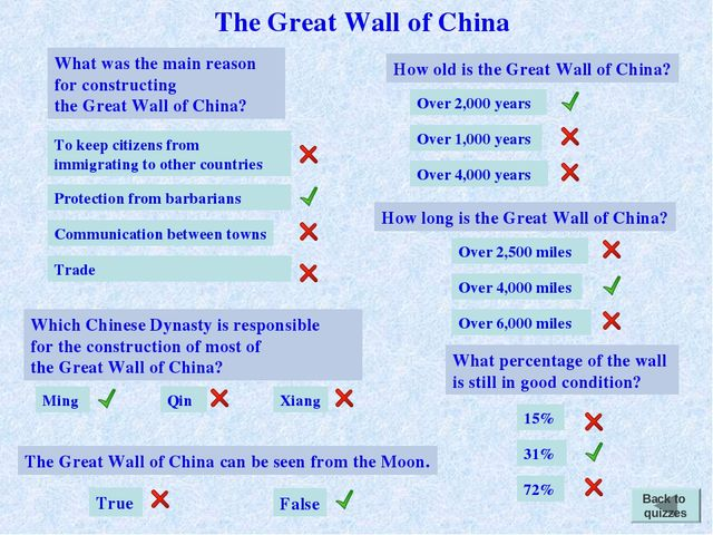 What was the main reason for constructing the Great Wall of China? Trade To k...
