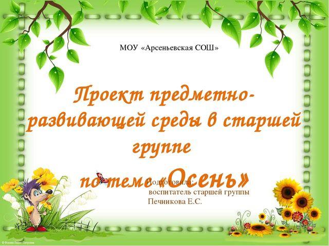 МОУ «Арсеньевская СОШ» Проект предметно-развивающей среды в старшей группе по...