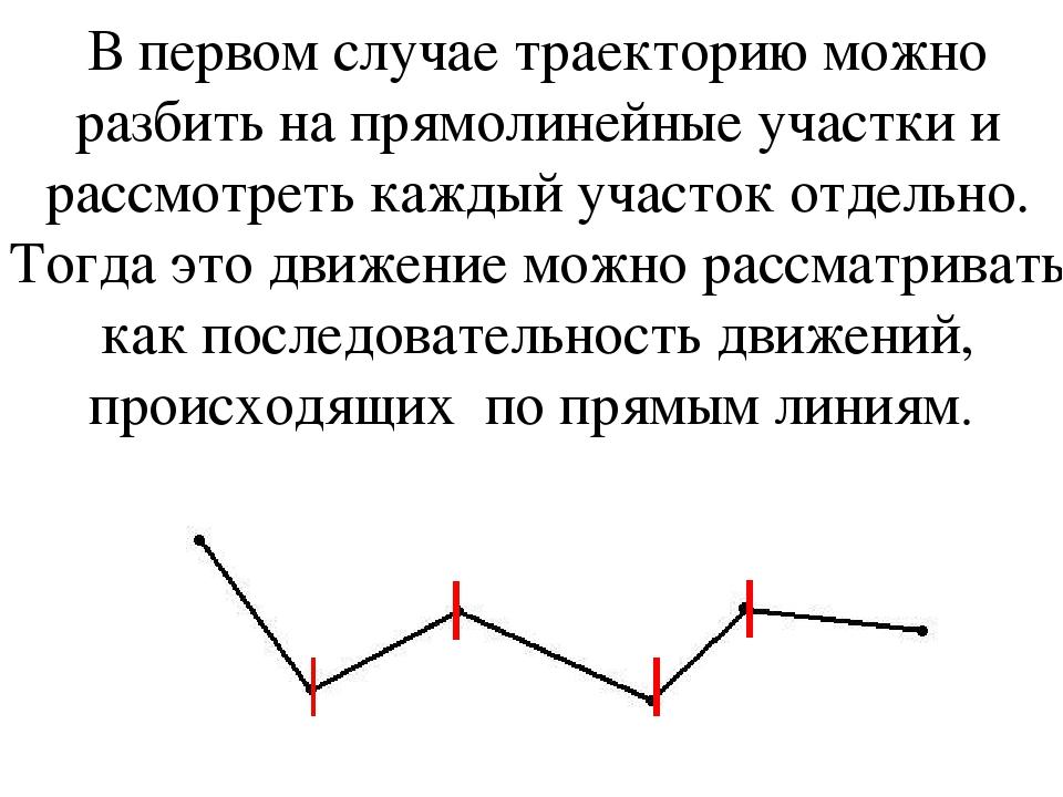 В первом случае траекторию можно разбить на прямолинейные участки и рассмотре...