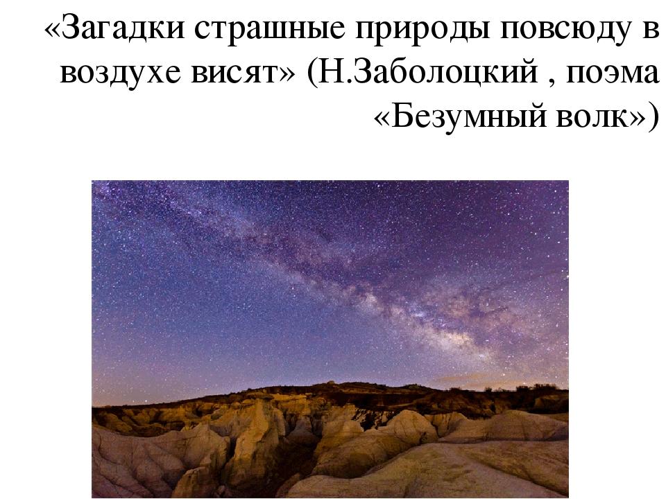 «Загадки страшные природы повсюду в воздухе висят» (Н.Заболоцкий , поэма «Без...