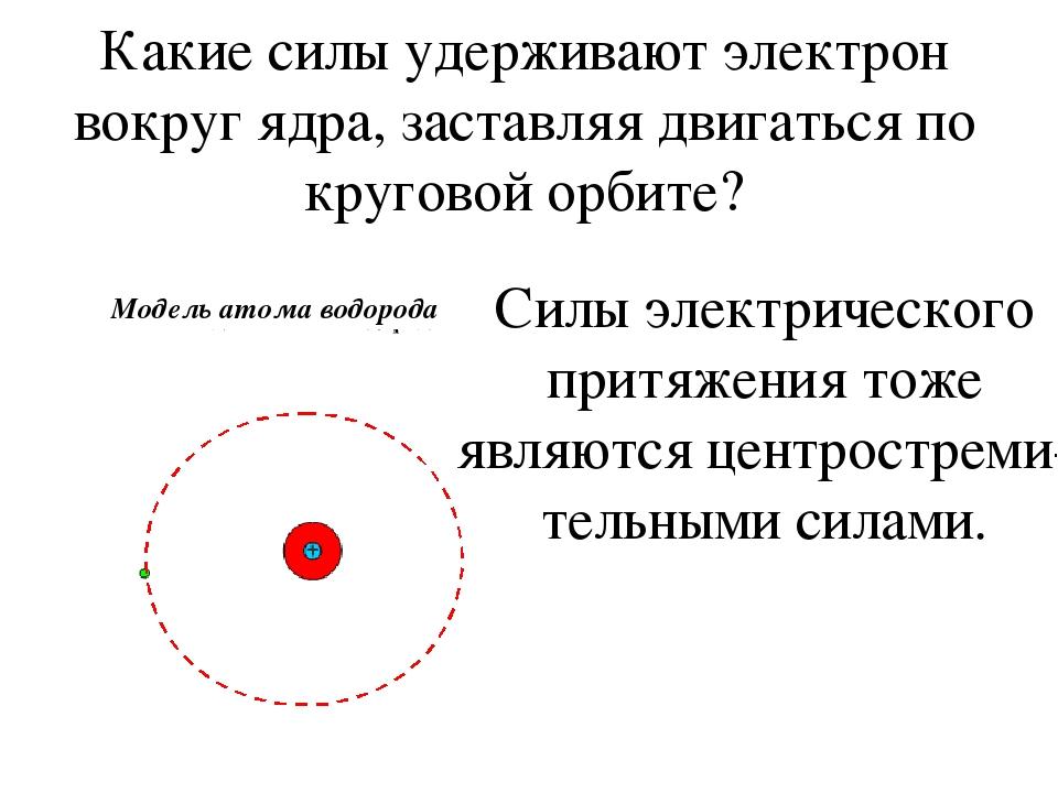 Какие силы удерживают электрон вокруг ядра, заставляя двигаться по круговой о...