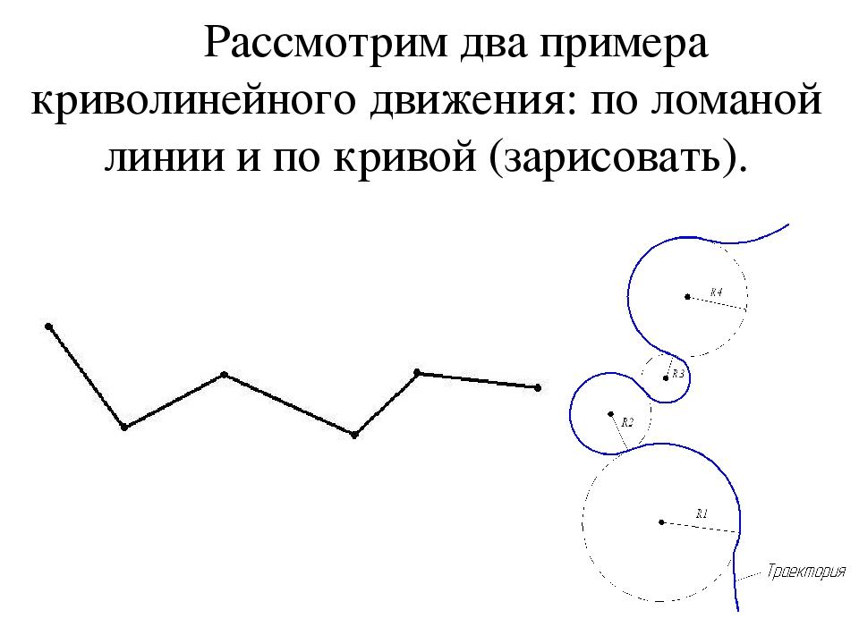 Рассмотрим два примера криволинейного движения: по ломаной линии и по кривой...