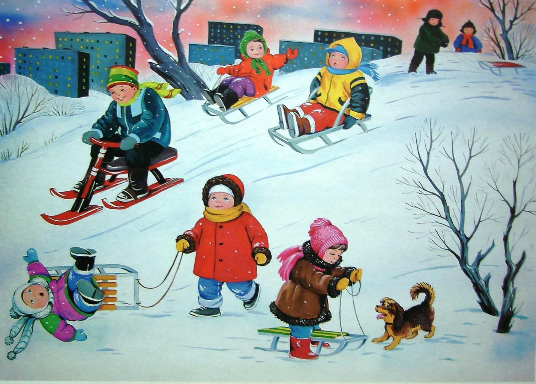 Рисованные картинки с детьми зимой