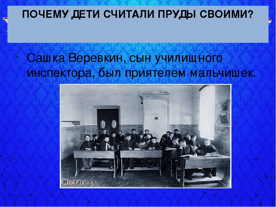 ПОЧЕМУ ДЕТИ СЧИТАЛИ ПРУДЫ СВОИМИ? Сашка Веревкин, сын училищного инспектора,...
