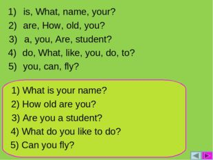 1) What is your name? 2) How old are you? 3) Are you a student? 4) What do yo
